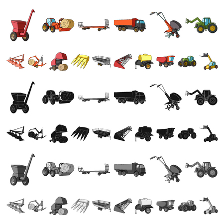 Agricultural machinery cartoon icons in set collection for design. Equipment and device vector symbol stock illustration. Vector Illustratie