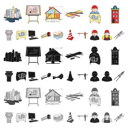 デザインのためのセットコレクションの建築と建設漫画のアイコン。建築家と機器のベクトルシンボルのストックイラスト。