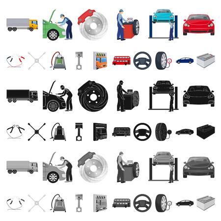 Icônes de dessin animé de voiture, ascenseur, pompe et autres équipements dans la collection de jeux pour la conception. Illustration de stock de symbole de vecteur de station de maintenance de voiture.