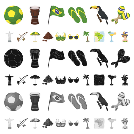 Country Brazil cartoon icons in set collection for design. Travel and attractions Brazil vector symbol stock  illustration. Illustration