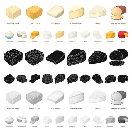 Différents types d'icônes de dessin animé de fromage dans la collection de jeu pour la conception.Illustration de stock de symbole de vecteur de fromage produit laitier.