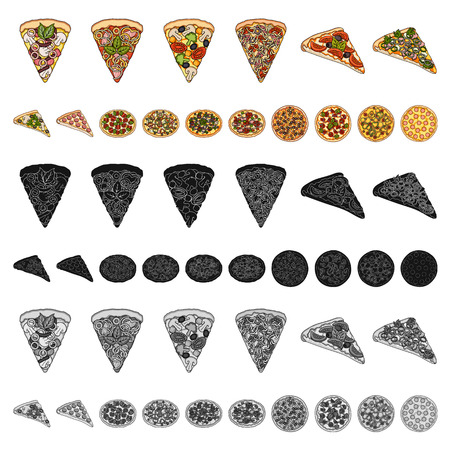Different pizza cartoon icons in set collection for design.Pizza food vector symbol stock  illustration.