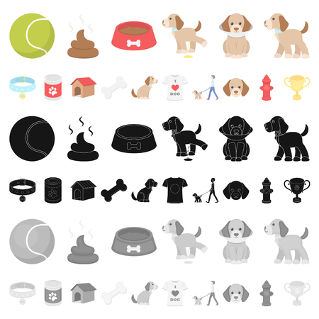 Pet dog cartoon icons in set collection for design. Caring for the puppy vector symbol stock  illustration.