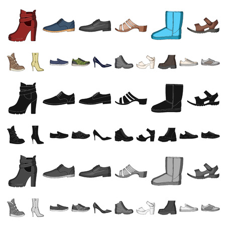 Different shoes cartoon icons in set collection for design. Men s and women s shoes vector symbol stock illustration. Vektorgrafik