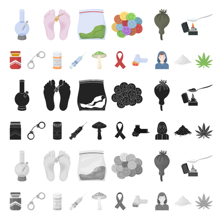 Drug addiction and attributes cartoon icons in set collection for design. Addict and Drug vector symbol stock  illustration.