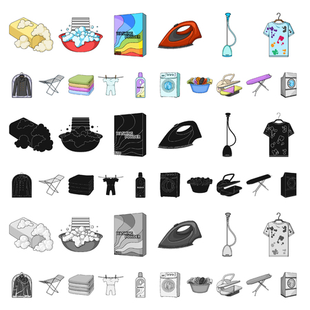 Dry cleaning equipment cartoon icons in set collection for design. Washing and ironing clothes vector symbol stock illustration. Ilustración de vector