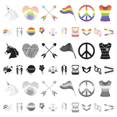 Gay and lesbian cartoon icons in set collection for design.Sexual minority and attributes vector symbol stock  illustration. Illustration