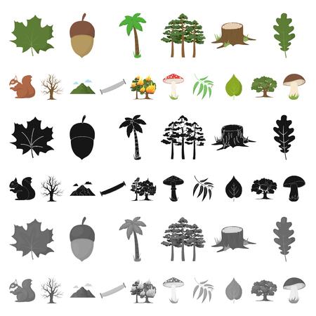 Icônes de dessin animé de forêt et de nature dans la collection de jeu pour la conception. Illustration stock de symbole de vecteur de vie de forêt.