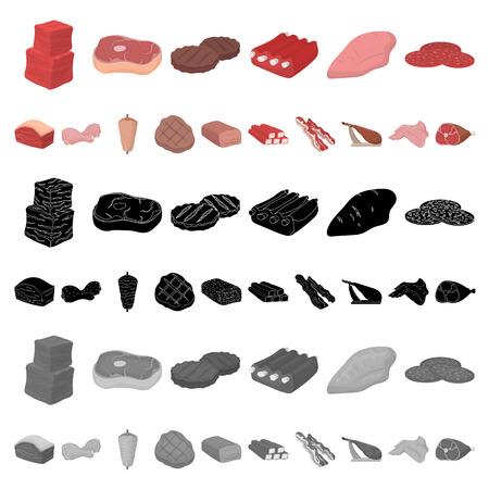 Verschillende vlees cartoon pictogrammen in set collectie voor design. Vleesproduct vector symbool stock illustratie. Vector Illustratie