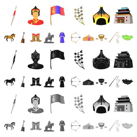 País Mongolia, dibujos animados, iconos de colección set de diseño. Territorio e hito vector símbolo stock de ilustración. Ilustración de vector