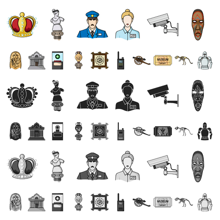 Museum and gallery cartoon icons in set collection for design. Storage and exhibition of showpiece vector symbol stock illustration.