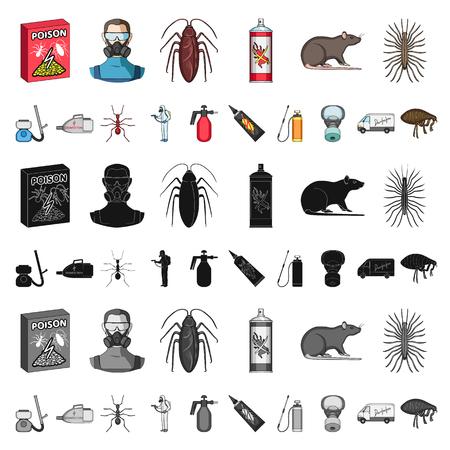 Plagas, veneno, personal y equipo, dibujos animados, iconos de colección set de diseño. Ilustración de stock de símbolo de vector de servicio de control de plagas.