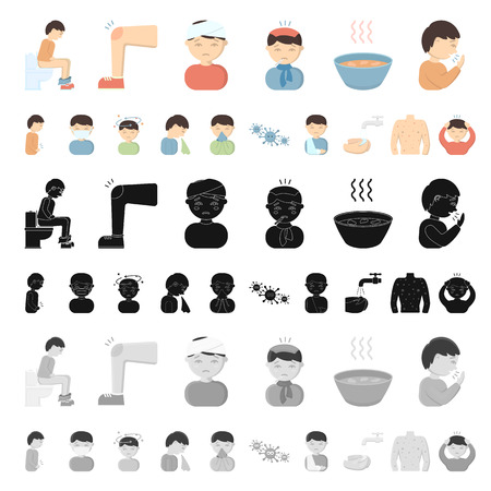 The sick man cartoon icons in set collection for design. Illness and treatment vector symbol stock illustration. Vektorové ilustrace