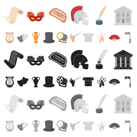 Theatrical art cartoon icons in set collection for design.Theater equipment and accessories vector symbol stock web illustration.