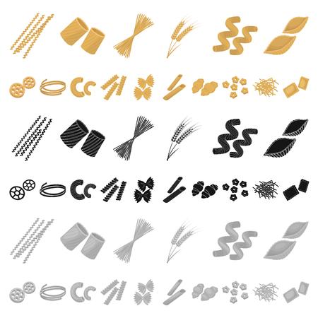 Tipi di pasta cartoon icone nella raccolta di set per il design. Maccheroni figurati per mangiare illustrazione vettoriale simbolo d'archivio web. Vettoriali