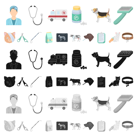 Veterinary clinic cartoon icons in set collection for design. Treatment of a pet vector symbol stock web illustration.