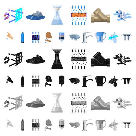 Sistema de filtración de agua, dibujos animados, iconos de colección set de diseño. Ilustración de stock de símbolo de vector de equipo de limpieza.