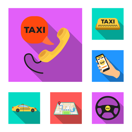 Taxi service flat icons in set collection for design. Taxi driver and transport bitmap symbol stock web illustration. Stock Illustration - 109163431