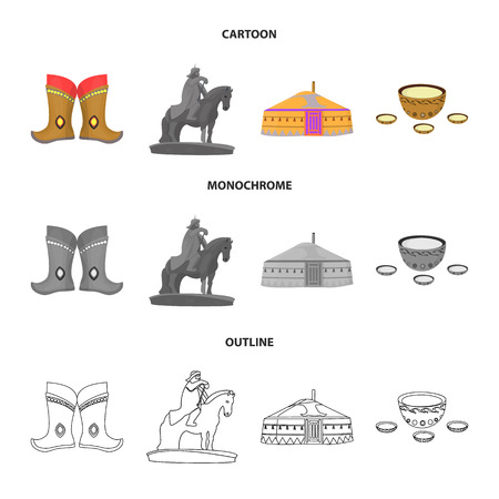 Military boots, a monument to the rider, a national tent, a milk drink. Mongolia set collection icons in cartoon,outline,monochrome style bitmap symbol stock illustration web.