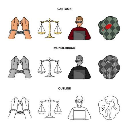 Handcuffs, scales of justice, hacker, crime scene.Crime set collection icons in cartoon,outline,monochrome style bitmap symbol stock illustration web.