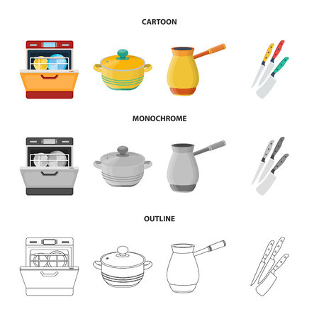 Kitchen equipment cartoon,outline,monochrome icons in set collection for design. Kitchen and accessories bitmap symbol stock web illustration. Stock Photo