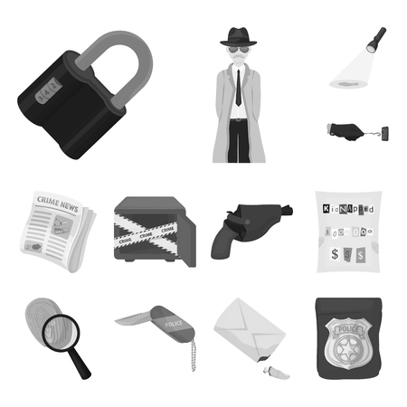 Detective agency monochrome icons in set collection for design. Crime and investigation bitmap symbol stock web illustration. Stock Photo