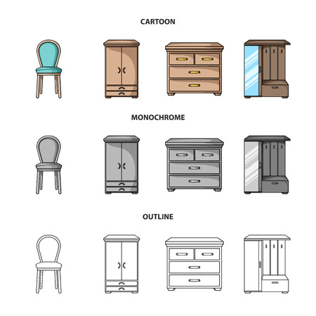 Armchair, cabinet, bedside, table .Furniture and home interiorset collection icons in cartoon,outline,monochrome style bitmap symbol stock illustration web.