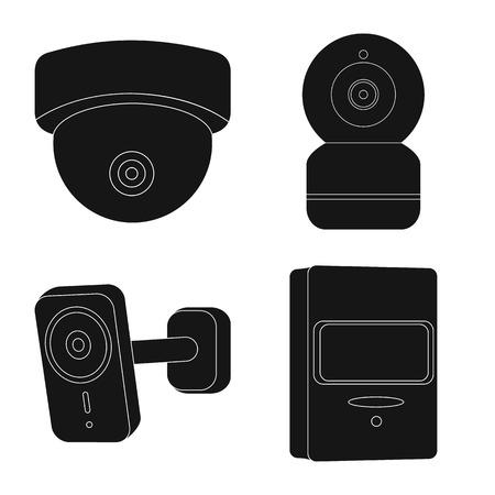 Il design del vettore di cctv e segno della fotocamera. Raccolta di cctv e icona di vettore di sistema per stock. Vettoriali