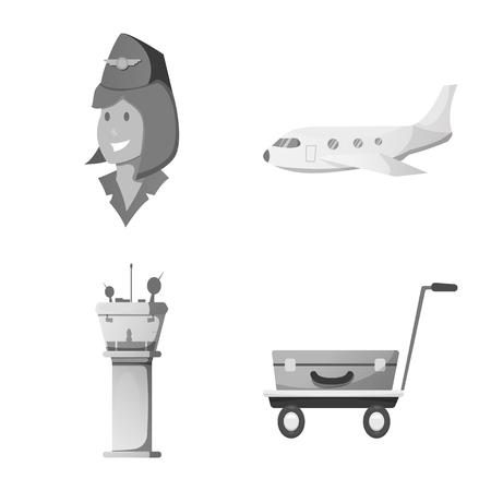 Illustration vectorielle du logo de l'aéroport et de l'avion. Collection d'icône de vecteur aéroport et avion pour le stock.