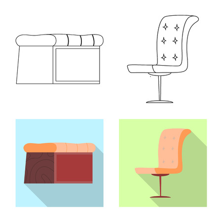 Vector illustration of furniture and apartment icon. Collection of furniture and home stock vector illustration. Vectores