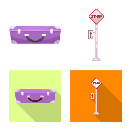 Vector illustration of train and station symbol. Set of train and ticket stock symbol for web.