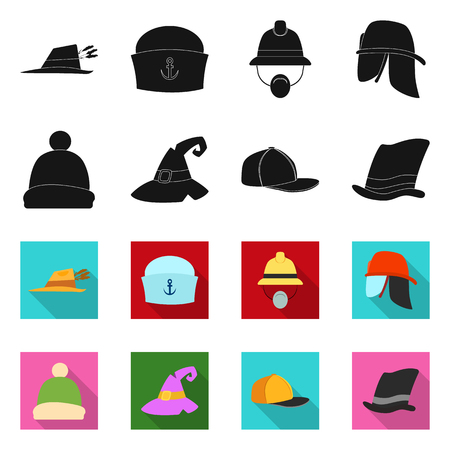 Isolated object of headgear and cap symbol. Set of headgear and accessory stock vector illustration. Illustration