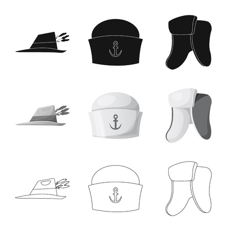 Isolated object of headgear and cap sign. Set of headgear and accessory stock symbol for web. Ilustracje wektorowe