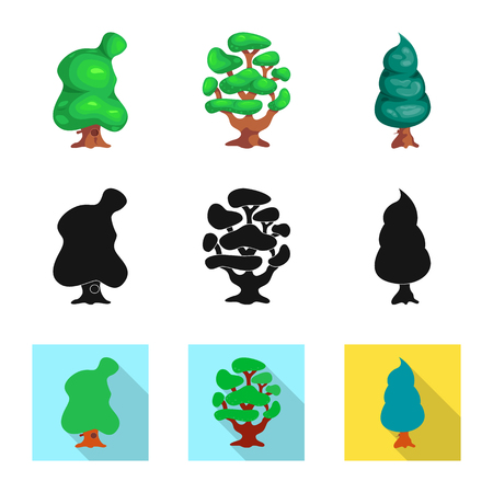 Vector design of tree and nature icon. Collection of tree and crown vector icon for stock.