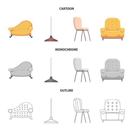 Vector illustration of furniture and apartment logo. Collection of furniture and home vector icon for stock.