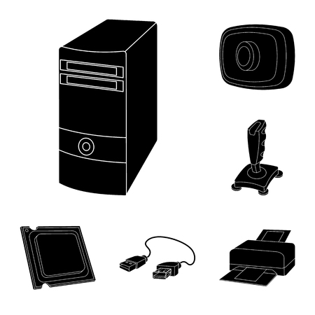 Personal computer black icons in set collection for design. Equipment and accessories bitmap symbol stock web illustration. Фото со стока