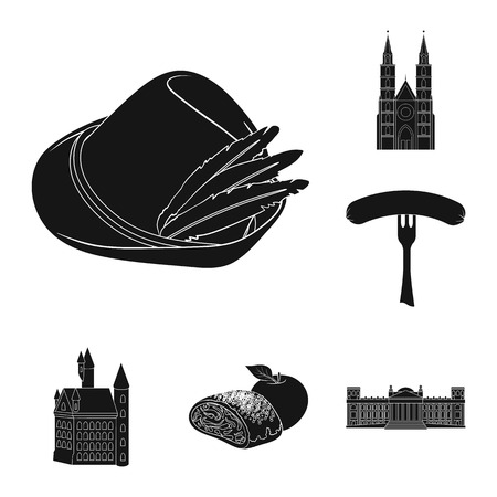Country Germany black icons in set collection for design. Germany and landmark bitmap symbol stock web illustration.