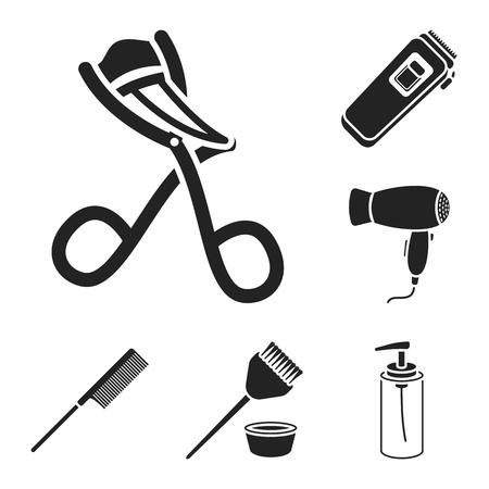 Hairdresser and tools black icons in set collection for design.Profession hairdresser bitmap symbol stock web illustration.