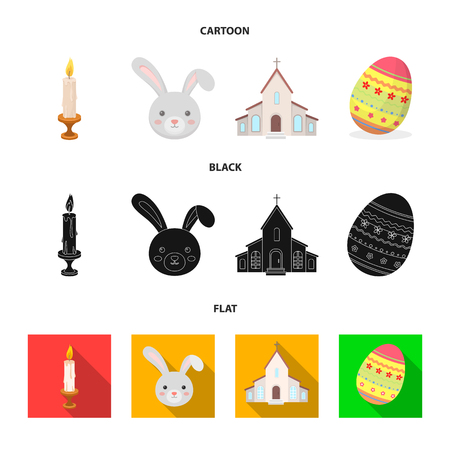Church, candle, easter bunny and painted egg.Easter set collection icons in cartoon,black,flat style bitmap symbol stock illustration web.