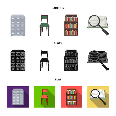 Cabinet with filing cabinet, chair, shelves, information search. Library and bookstore set collection icons in cartoon,black,flat style bitmap symbol stock illustration web. Archivio Fotografico