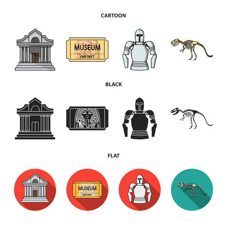 Picture, sarcophagus of the pharaoh, walkie-talkie, crown. Museum set collection icons in cartoon,black,flat style bitmap symbol stock illustration web.