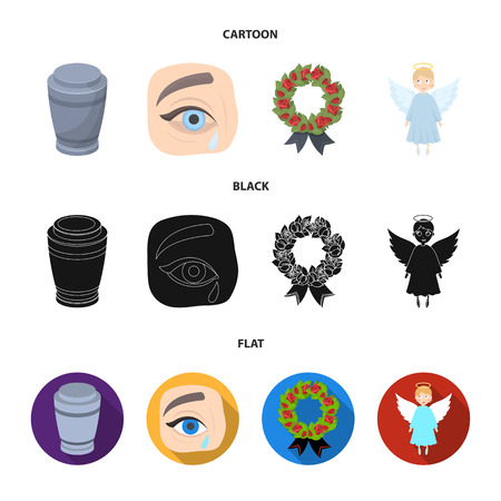 The urn with the ashes of the deceased, the tears of sorrow for the deceased at the funeral, the mourning wreath, the angel of death. Funeral ceremony set collection icons in cartoon,black,flat style bitmap symbol stock illustration web. Stock Photo