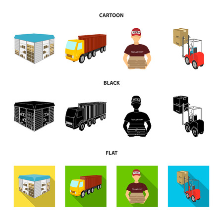 Truck, courier for delivery of pizza, forklift, storage room. Logistics and delivery set collection icons in cartoon,black,flat style isometric bitmap symbol stock illustration web. Stock Photo