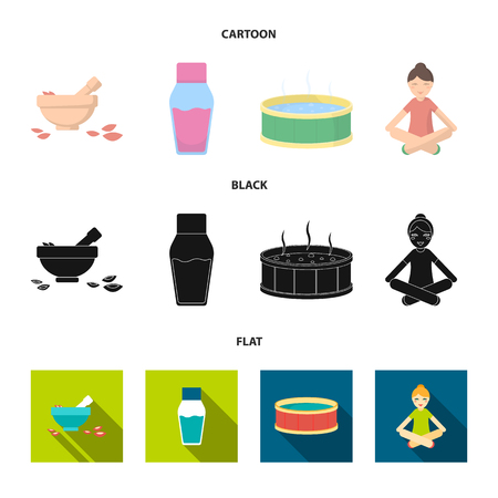 A bowl with flower petals and tolkushka, a bottle with ointment or cream, a pool with water, a woman in a yoga pose. Spa set collection icons in cartoon,black,flat style bitmap symbol stock illustration web.