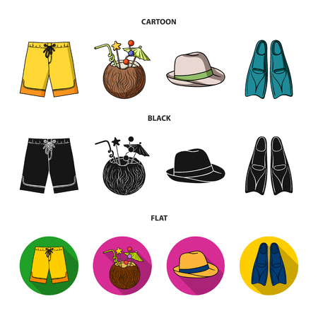 Swimming trunks, cocktail with coconut, panama and flippers. Surfing set collection icons in cartoon,black,flat style bitmap symbol stock illustration web.