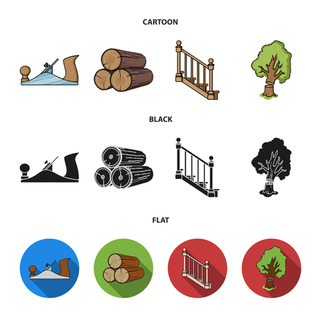 Logs in a stack, plane, tree, ladder with handrails. Sawmill and timber set collection icons in cartoon,black,flat style bitmap symbol stock illustration web.