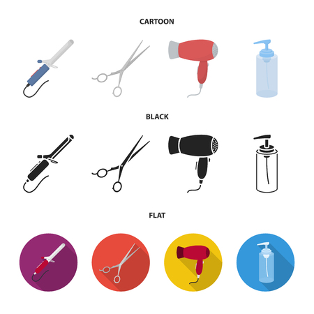 Hairdryer, hair dryer, lotion, scissors. Hairdresser set collection icons in cartoon,black,flat style bitmap symbol stock illustration web. Stock Photo