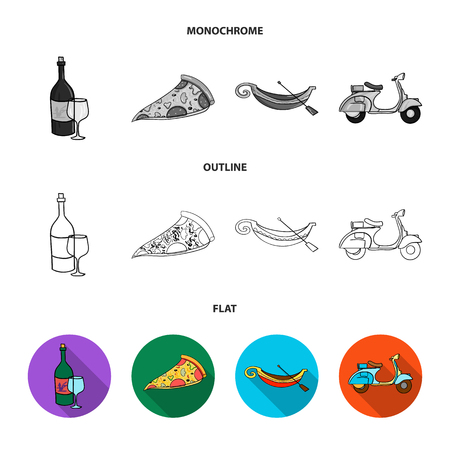 A bottle of wine, a piece of pizza, a gundola, a scooter. Italy set collection icons in flat,outline,monochrome style bitmap symbol stock illustration web.