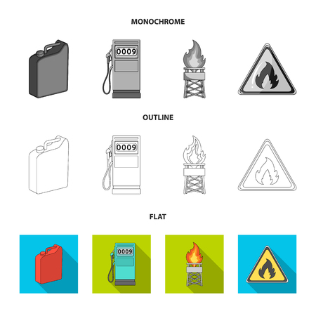 Canister for gasoline, gas station, tower, warning sign. Oil set collection icons in flat,outline,monochrome style bitmap symbol stock illustration web.