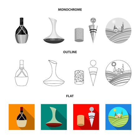 A bottle of wine in a basket, a gafine, a corkscrew with a cork, a grape valley. Wine production set collection icons in flat,outline,monochrome style bitmap symbol stock illustration . Foto de archivo - 109229240